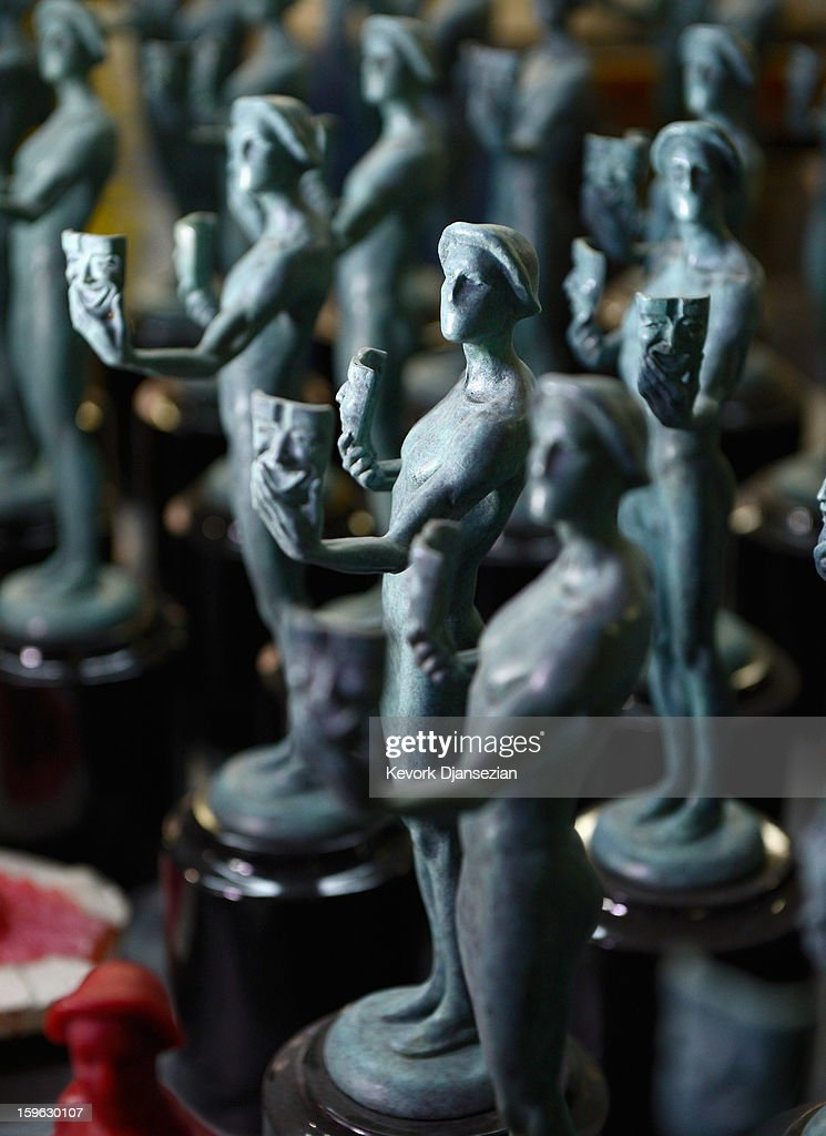 Finished Actor statuettes for the 19th annual Screen Actors Guild Award are on display at the American Fine Arts Foundry on January 17, 2013 in Burbank, California. While 773 statuettes have been created since the first show, only 765 Actors have been awarded. The Actor was sculpted by Edward Saenz and designed by Jim Heimann and Jim Barrett The 19th Annual SAG Awards, which honors outstanding motion picture and primetime television performances are to be held in Los Angeles on January 27.