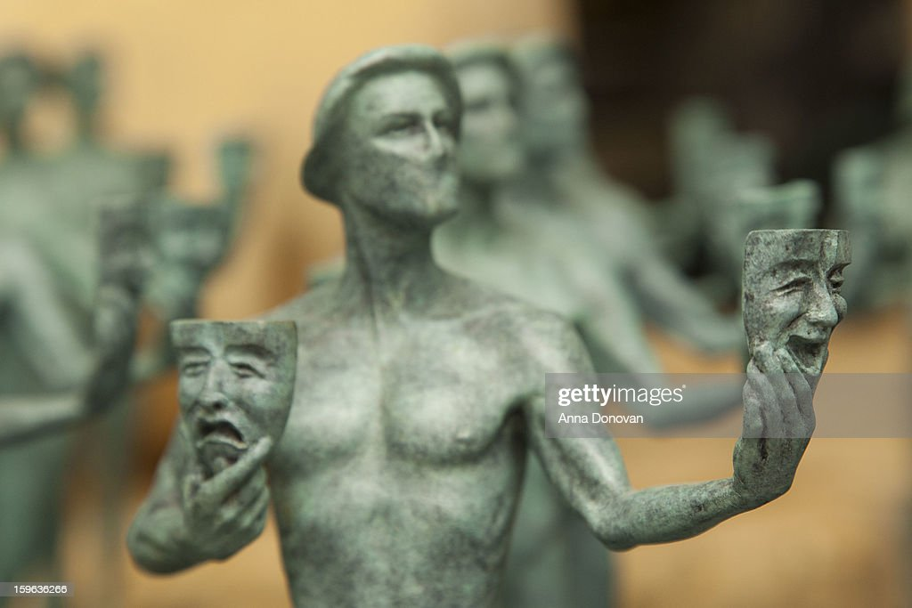 Finished Actor statuettes for the 19th annual Screen Actors Guild Award are on display at the American Fine Arts Foundry on January 17, 2013 in Burbank, California.