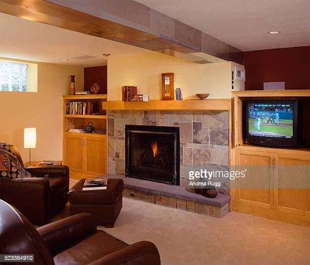 Finished Basement with Stone Fireplace