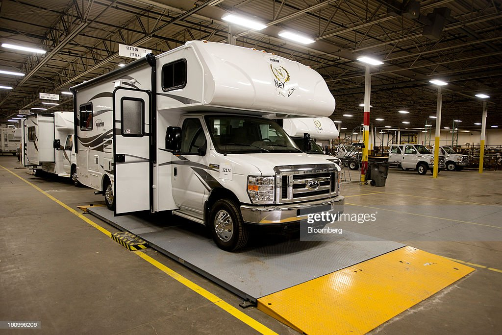 A finished Class C motorhome waits to be moved to the showroom at Nexus RV in Elkhart, Indiana, U.S., on Friday, Feb. 8, 2013. Orders placed with U.S. factories increased less than forecast in December, reflecting a drop in non-durable goods that partly countered gains in construction equipment and computers. Photographer: Ty Wright/Bloomberg via Getty Images