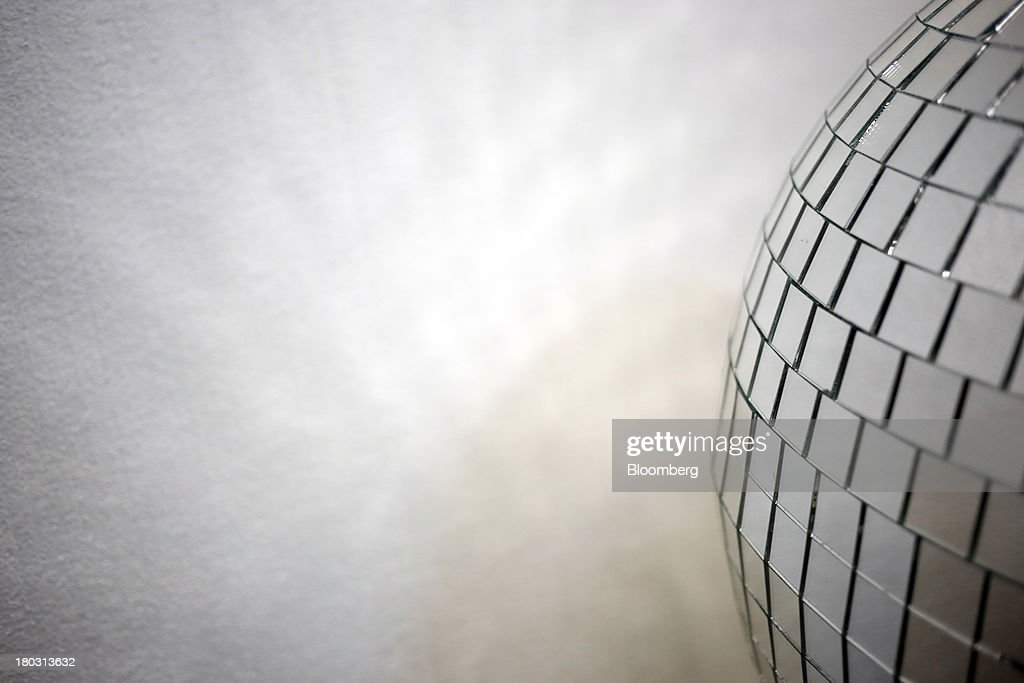 A finished disco ball sits at the Omega National Products manufacturing facility in Louisville, Kentucky, U.S., on Tuesday, Sept. 10, 2013. The U.S. Federal Reserve is scheduled to release industrial production figures on Sept. 16. Photographer: Luke Sharrett/Bloomberg via Getty Images