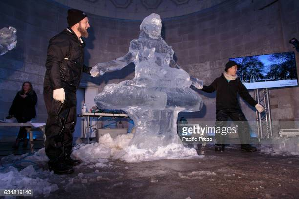 A finished ice statue The Central Park Conservancy hosts this annual Valentines Day event at the Naumburg Bandshell to celebrate the love for the...