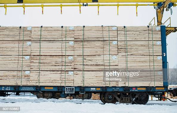 Finished lumber sits ready for shipment via rail at the Resolute Forest Products mill in Thunder Bay Canada Ontario on Friday Jan 8 2016 Resolute...