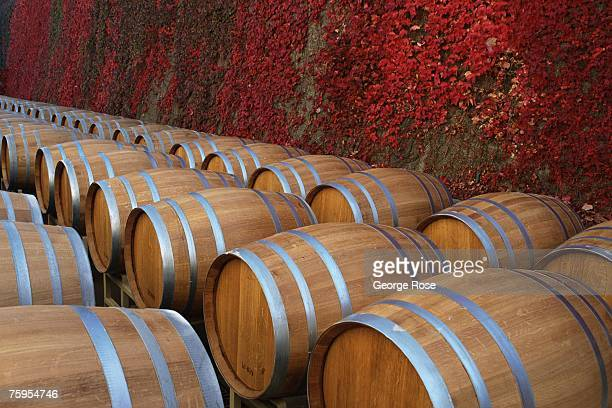 Finished new oak barrels are ready to be filled with wine in this 2000 Napa Valley California photo Oak barrels are used for aging wine
