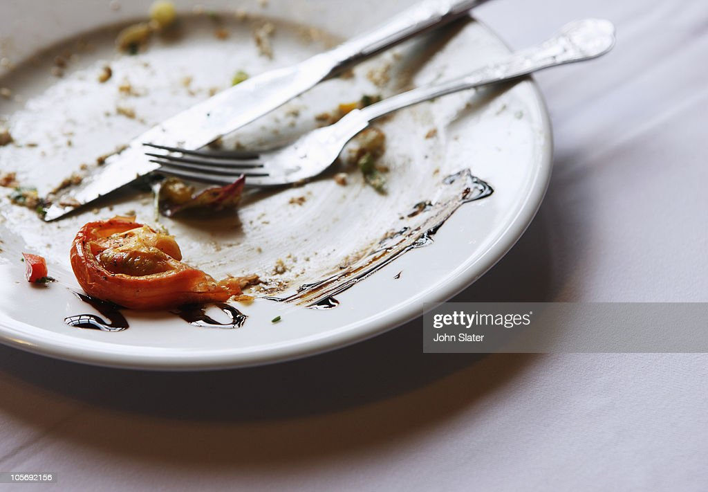 finished plate of food on table : Stock Photo