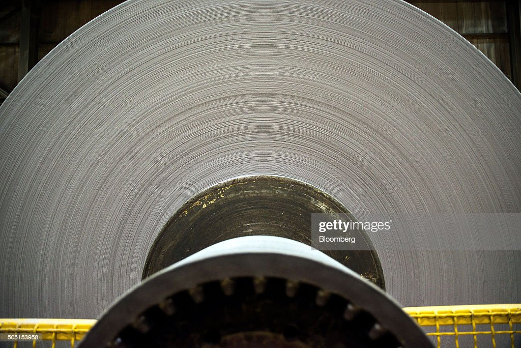 A finished roll of newsprint paper weighing close to four tons sits on the production line at the Resolute Forest Products mill in Thunder Bay Canada...