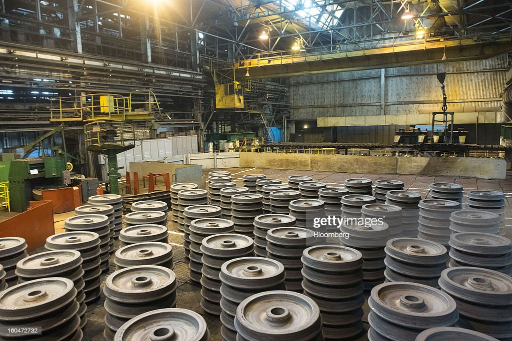 Finished steel wheels for railway rolling stock stand stacked in storage at the Interpipe LLC steel plant in Dnipropetrovsk, Ukraine, on Wednesday, Jan. 30, 2013. Ukraine's Interpipe Group, owned by billionaire Victor Pinchuk, opened a $700 million electric steel mill in Dnipropetrovsk with an annual output capacity of 1.32 million tons of steel for its seamless pipe production. Photographer: Vincent Mundy/Bloomberg via Getty Images