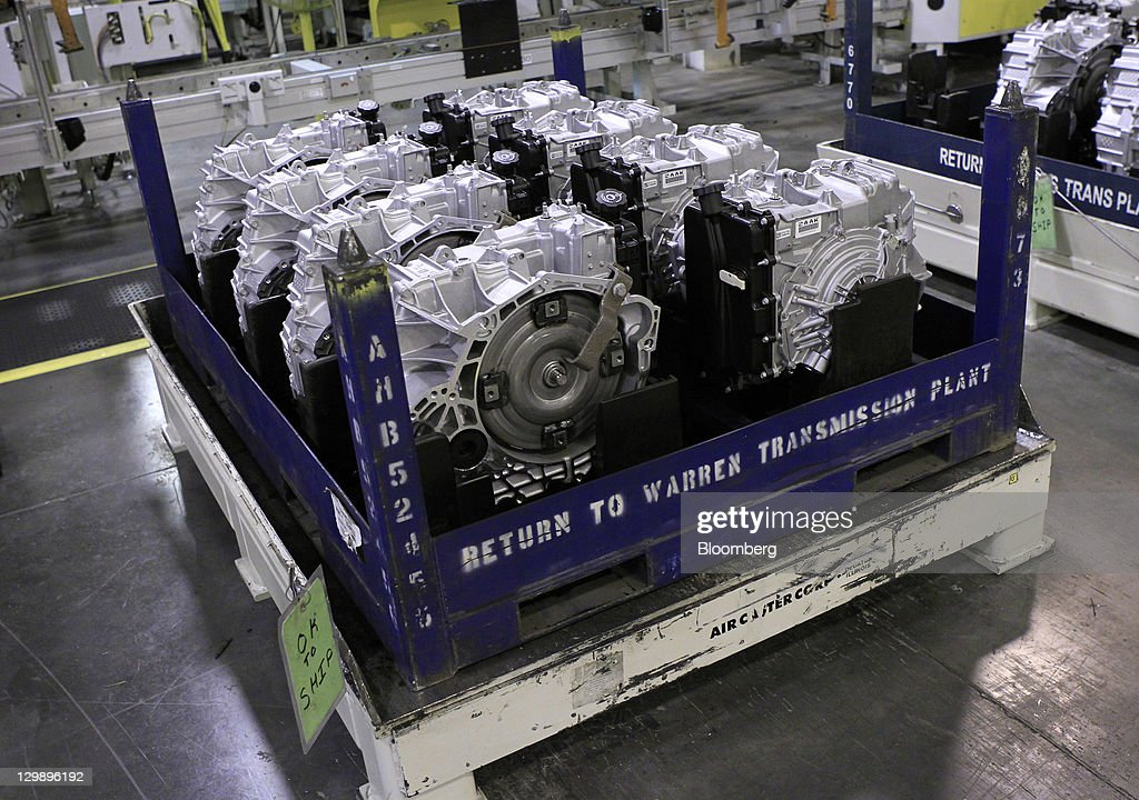 Finished transmissions wait to be shipped at the General Motors Co. (GM) transmission plant in Warren, Michigan, U.S., on Friday, Oct. 21, 2011. General Motors said they will invest $325 million in tools and equipment to support production of future electric vehicle components, creating or retaining 418 jobs. Photographer: Jeff Kowalsky/Bloomberg via Getty Images