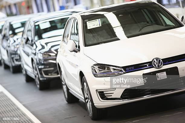 Finished Volkswagen cars arrive at the end of the assembly line prior to a visit by Volkswagen Group Chairman Matthias Mueller and Lower Saxony...