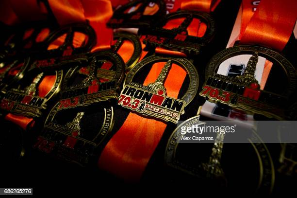 Finisher medals are seen during Ironman 703 Barcelona race on May 21 2017 in Barcelona Spain