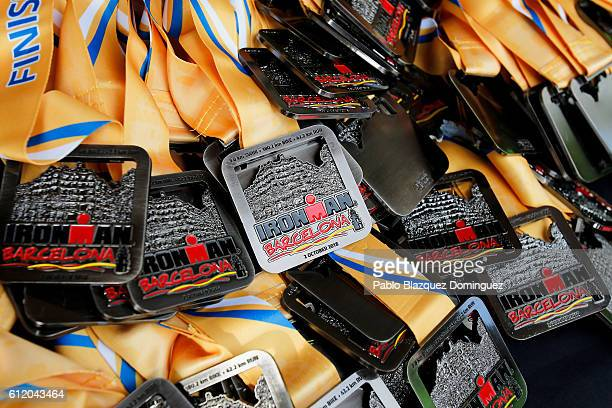 Finisher medals lay on a table during Ironman Barcelona on October 2 2016 in Calella in Barcelona province Spain