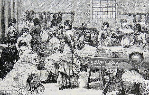 Finishers making small hand repairs to machinemade lace curtains before dispatch Birkin's lace factory Kimberley near Nottingham Engraving London 1884