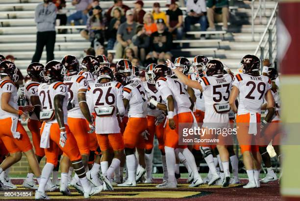 VT finishes warm up before a game between the Boston College Eagles and the Virginia Tech Hokies on October 7 at Alumni Stadium in Chestnut Hill...