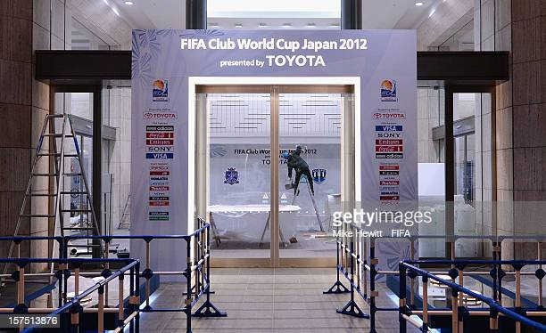 Finishing touches are applied at the Yokohama Stadium in preparation for the FIFA Champions Club Cup on December 4 2012 in Yokohama Japan