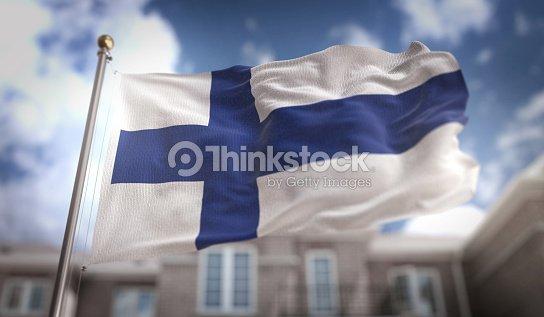 Render 3D de bandera de Finlandia sobre fondo azul Sky Building : Foto de stock