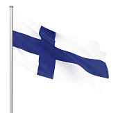 Finland flag blowing in the wind. Background texture. 3d rendering, wave. - Illustration. Isolated on white.
