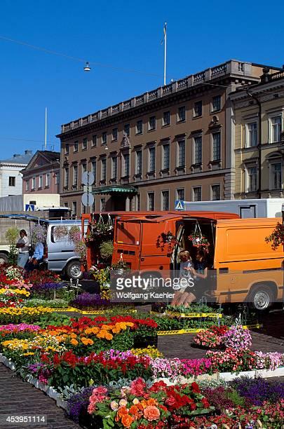 Finland Helsinki Downtown Market Place Flower Stand