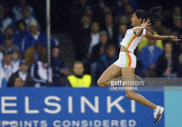 India's Anju Bobby George competes during the women's long jump finals at the 10th IAAF World Athletics Championships in Helsinki 10 August 2005 AFP...