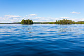 Finland lake scape at summer viewed from boat