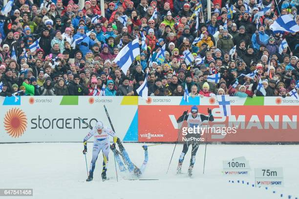 Finland looses the chance to fight for the third place as Matti Heikkinen falls in the last 100 metres leaving Calle Halfvarsson from Sweden and...