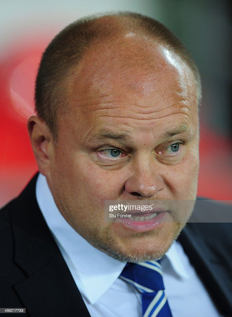Finland manager Mixu Paatelainen looks on before the International Friendly match between Wales and Finland at Cardiff City Stadium on November 16, 2013 in Cardiff, Wales.