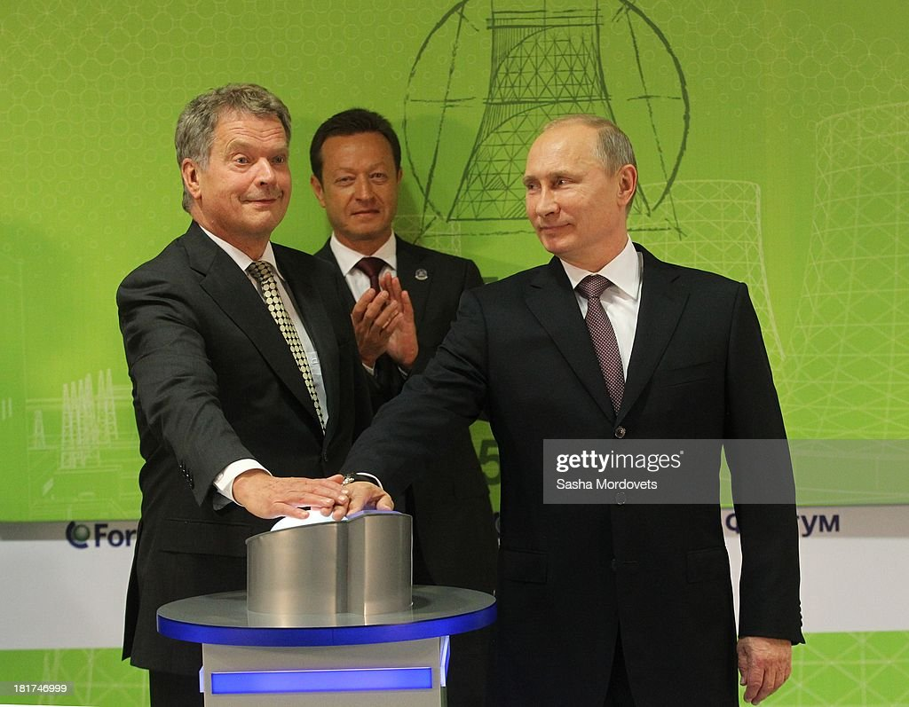 Finland President Sauli Niinisto (L) and Russian President <a gi-track='captionPersonalityLinkClicked' href=/galleries/search?phrase=Vladimir+Putin&family=editorial&specificpeople=154896 ng-click='$event.stopPropagation()'>Vladimir Putin</a> (R) attend in the opening of the new gas-fired thermal power plant Nyagan GRES on September 24, 2013 in Nyagan, Siberia, Russia. The largest greenfield thermal power plant project in Russia since 1990, the massive site will have a power generation capacity of over 1,250 megawatts