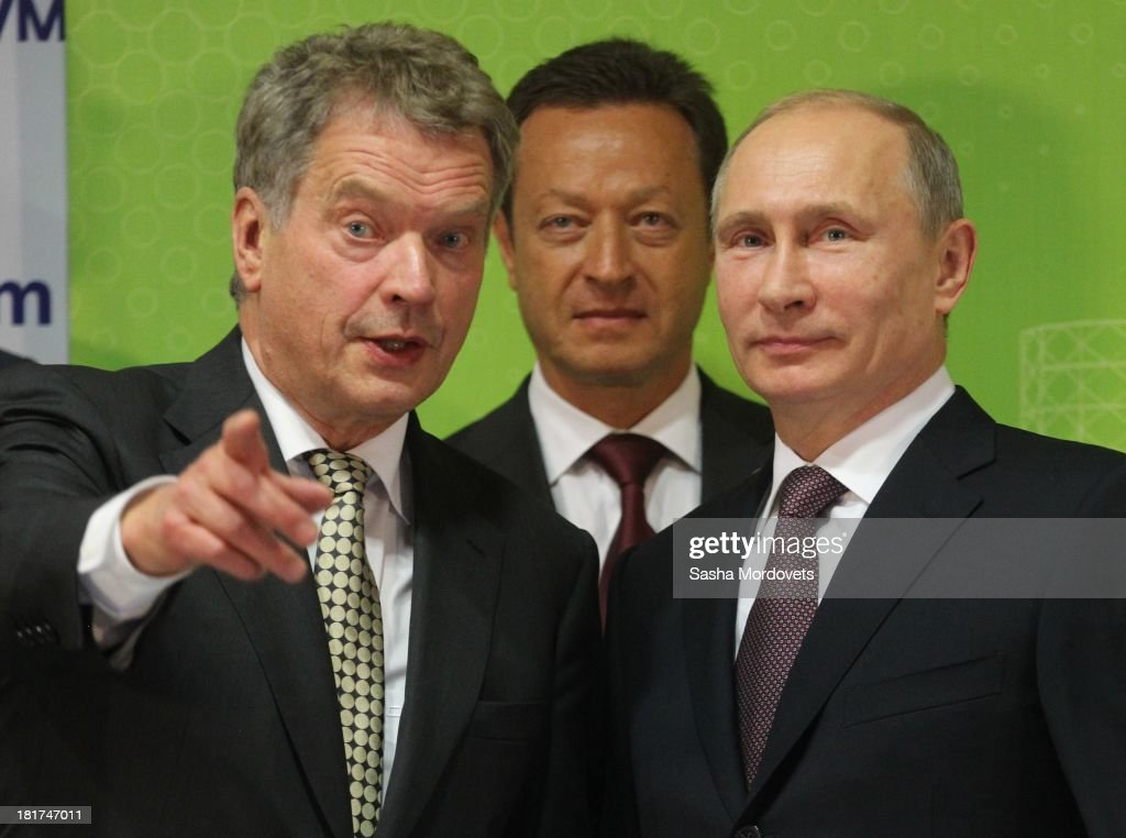 Finland President Sauli Niinisto (L) and Russian President <a gi-track='captionPersonalityLinkClicked' href=/galleries/search?phrase=Vladimir+Putin&family=editorial&specificpeople=154896 ng-click='$event.stopPropagation()'>Vladimir Putin</a> attend the opening of the new gas-fired thermal power plant Nyagan GRES on September 24, 2013 in Nyagan, Siberia, Russia. The largest greenfield thermal power plant project in Russia since 1990, the massive site will have a power generation capacity of over 1,250 megawatts