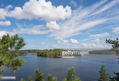 Finland, Southern Savonia, Mikkeli, lake Saimaa with island