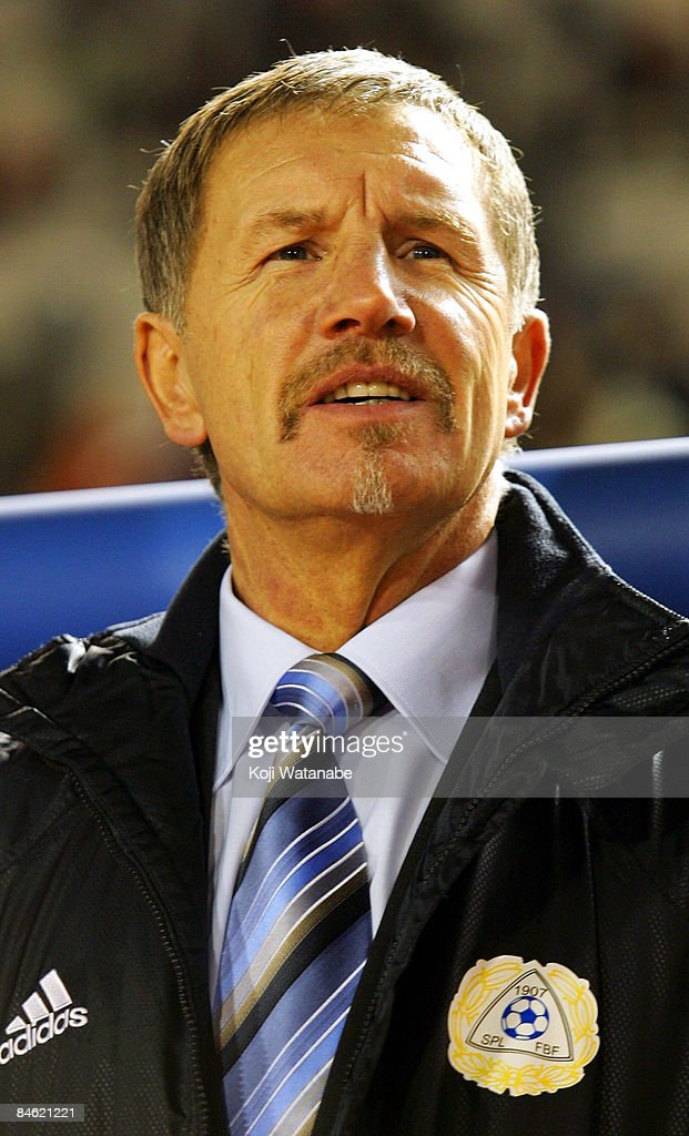 Finland team coach Stuart Baxter waits for the start of the Kirin Challenge Cup 2009 match between Japan and Finland at the National Stadium on...