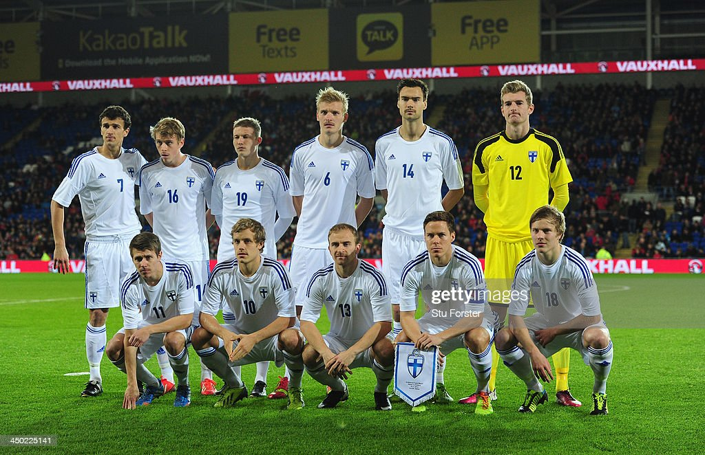 Finland team group before the International Friendly match between Wales and Finland at Cardiff City Stadium on November 16, 2013 in Cardiff, Wales.