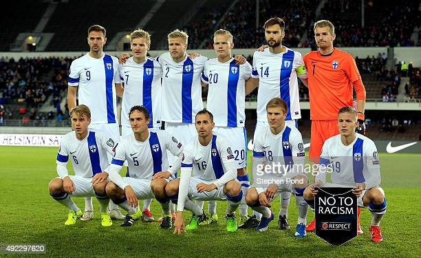 Finland team group during the UEFA EURO 2016 Qualifying match between Finland and Northern Ireland at the Olympic Stadium on October 11 2015 in...
