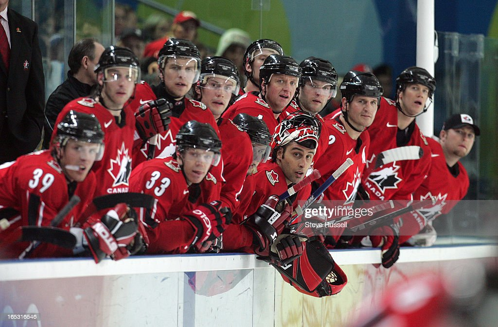 FINLAND---02/19/06---The Canadian bench including Robert Luongo, who was pulled for an extra attacker watch as time runs out. Canada loses its second straight game 2-0, this time to Finland at the Esposizioni at the Torino 2006 XX Winter Olympics hosted by Turin, Italy , February 19, 2006.