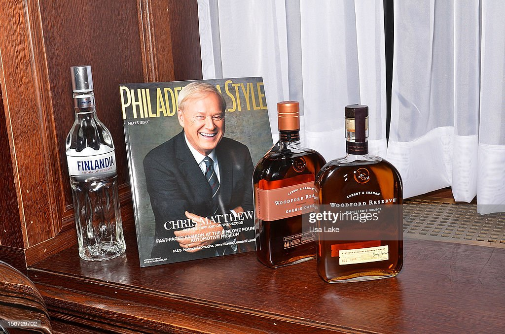 Finlandia Vodka of Finland and Woodford Reserve provide signature drinks during Philadelphia Style Magazine Cover Event Hosted By Chris Matthews on November 19, 2012 in Philadelphia, Pennsylvania.