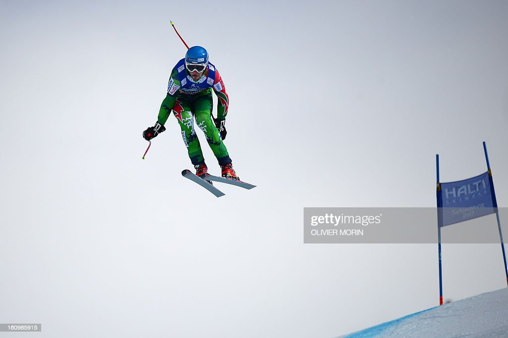 Finland's Andreas Romar competes during the men's downhill training event of the 2013 FIS Alpine Ski World Championships in Schladming, Austria on February 8, 2013.