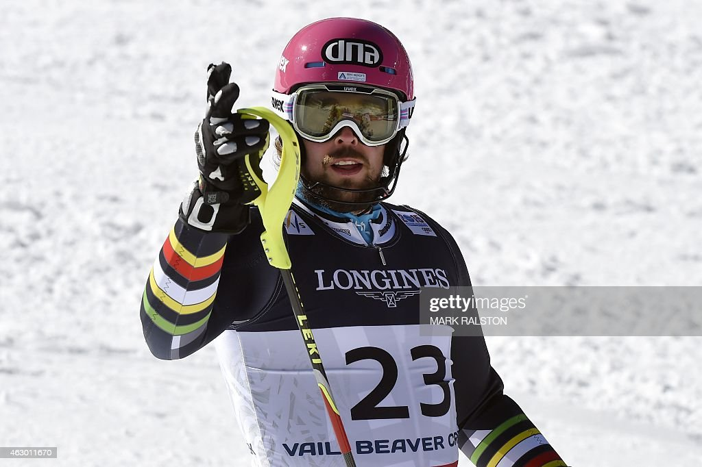 Finland's <a gi-track='captionPersonalityLinkClicked' href=/galleries/search?phrase=Andreas+Romar&family=editorial&specificpeople=6734606 ng-click='$event.stopPropagation()'>Andreas Romar</a> react in the finish area of the 2015 World Alpine Ski Championships men's combined, on February 8, 2015 in Beaver Creek, Colorado. AFP PHOTO / MARK RALSTON