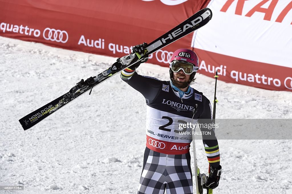 Finland's <a gi-track='captionPersonalityLinkClicked' href=/galleries/search?phrase=Andreas+Romar&family=editorial&specificpeople=6734606 ng-click='$event.stopPropagation()'>Andreas Romar</a> reacts in the finish area of the 2015 World Alpine Ski Championships men's combined, on February 8, 2015 in Beaver Creek, Colorado. AFP PHOTO / MARK RALSTON