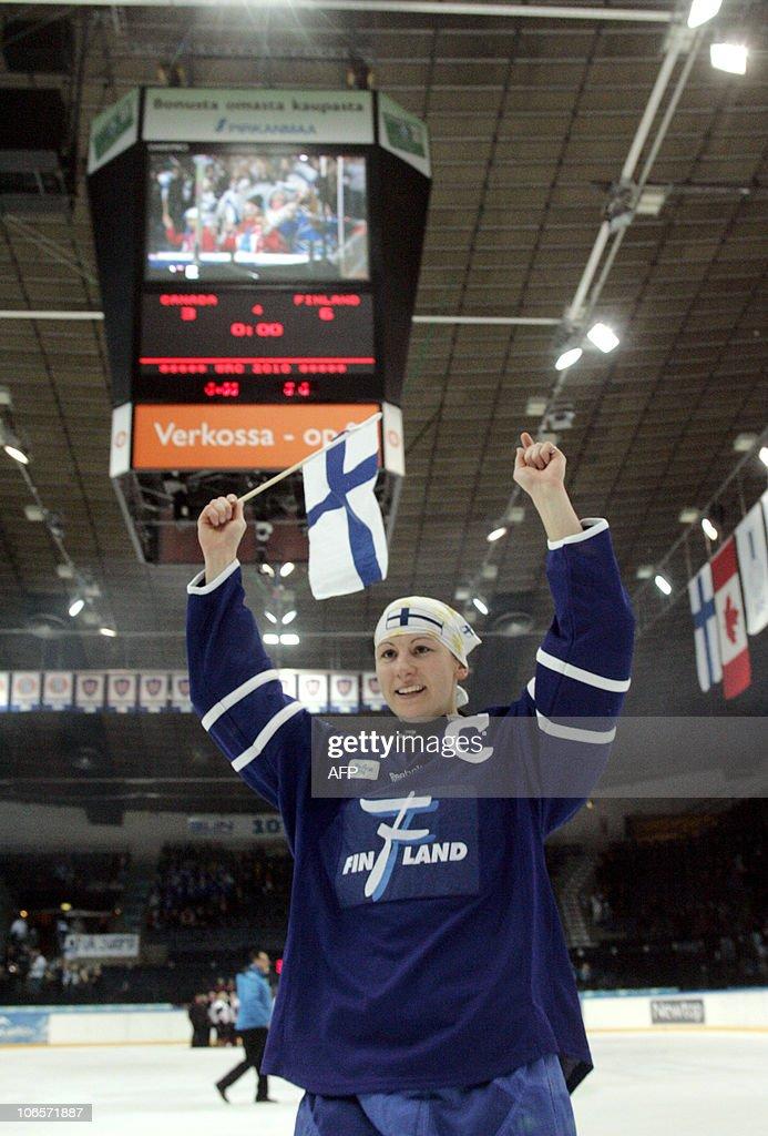 Finland's captain Marjukka Virta celebrates after winning the ice hockey World Ringette Championship 2010 second final match against Canada in Tampere on November 5, 2010. Finland won 6-3. AFP PHOTO / LEHTIKUVA / Kalle Parkkinen