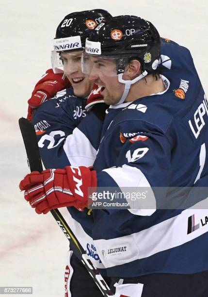 Finland's Eeli Tolvanen and Sami Lepisto celebrate during the Ice Hockey Euro Hockey Tour Karjala Cup match between Finland and Canada in Helsinki...