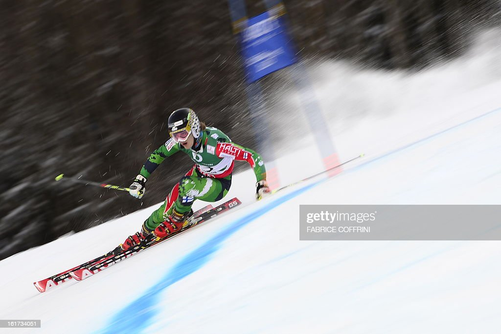 Finland's Eemeli Pirinen skis during the first run of the men's Giant slalom at the 2013 Ski World Championships in Schladming, Austria on February 15, 2013.