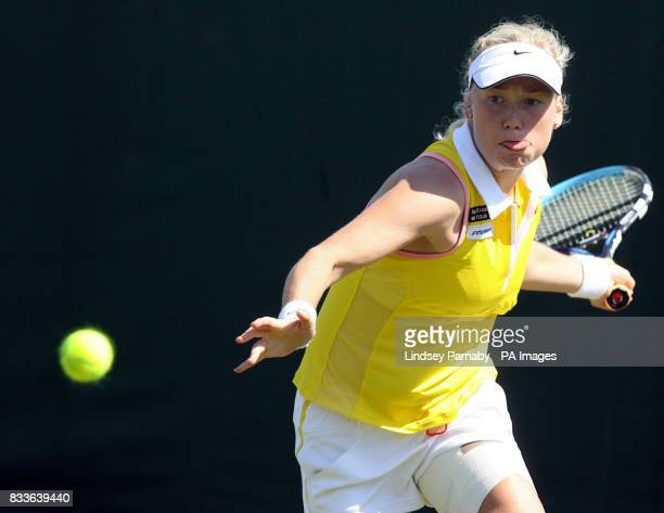 Finland's Emma Laine in action against Great Britain's Jane O'Donoghue during Hasting's Direct International at Devonshire Park Eastbourne