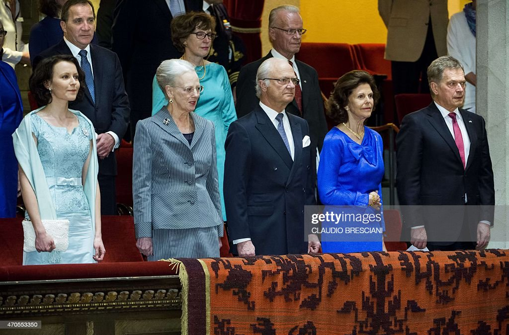 Finland's First Lady Jenni Haukio, Queen Margrethe of Denmark, King Carl Gustaf of Sweden, <a gi-track='captionPersonalityLinkClicked' href=/galleries/search?phrase=Queen+Silvia+of+Sweden&family=editorial&specificpeople=160332 ng-click='$event.stopPropagation()'>Queen Silvia of Sweden</a> and President Sauli Niinisto of Finland are pictured at Stockholm Concert Hall, April 21, 2015. 2015 marks the 150th anniversary of Nordic composers <a gi-track='captionPersonalityLinkClicked' href=/galleries/search?phrase=Jean+Sibelius&family=editorial&specificpeople=905695 ng-click='$event.stopPropagation()'>Jean Sibelius</a> of Finland and Carl Nielsen of Denmark, celebrated at the Stockholm Concert Hall with a two-week Sibelius-Nielsen festival. AFP PHOTO / TT NEWS AGENCY / CLAUDIO BRESCIANI +++ SWEDEN OUT