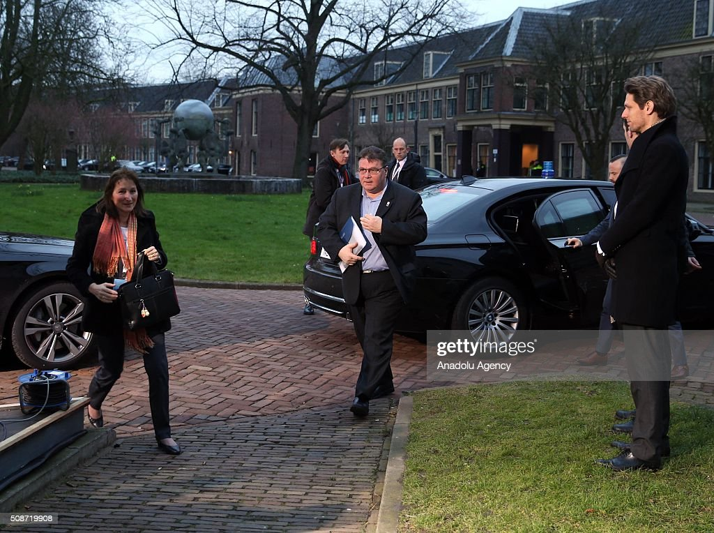 Finland's Foreign Minister Timo Soini (C) arrives to take part arrives to take part in Informal Gymnich meeting of EU foreign ministers in Amsterdam, Netherlands on February 6, 2016.