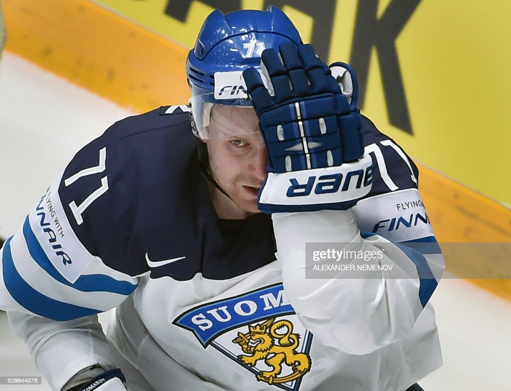 Finland's forward Leo Komarov skates during the group B preliminary round game Finland vs Belarus at the 2016 IIHF Ice Hockey World Championship in St. Petersburg on May 6, 2016. / AFP / ALEXANDER