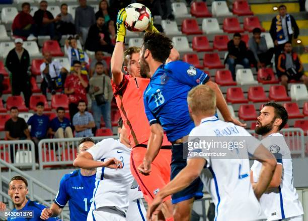 Finland's goalkeeper Lukas Hradecky catches the ball during the FIFA World Cup 2018 qualification football match between Kosovo and Finland at Loro...