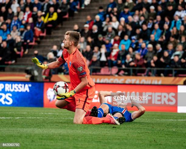 Finland's goalkeeper Lukas Hradecky during the FIFA World Cup 2018 Group I football qualification match between Finland and Iceland in Tampere...