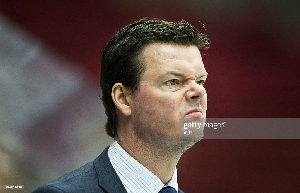 Finland's head coach Karri Kivi grimaces during the Group B preliminary round match Finland vs Norway at the IIHF World Junior Ice Hockey Championships in Malmoe, Sweden on December 27, 2013.