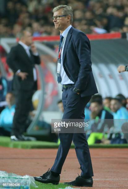 Finland's head coach Mattila Kanerva attends the Fifa World Cup 2018 qualification football match between Turkey and Finland on March 24 2017 at...