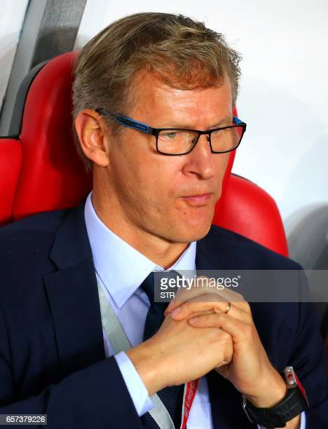 Finland's head coach Sakari Mattila Kanerva attends the Fifa World Cup 2018 qualification football match between Turkey and Finland on March 24 2017...