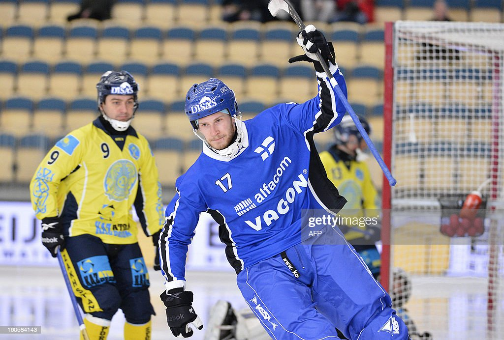Finland's Janne Hauska celebrates his goal during the bronze medal match Finland vs Kazakhstan at the Bandy World Championship in Vanersborg, Sweden on February 3, 2013.