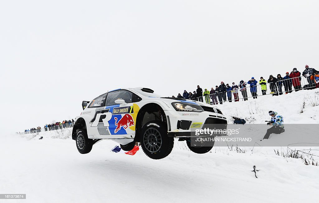 Finland's Jari-Matti Latvala and his co-driver Mikka Anttila steer their Volkswagen Polo R WRC during Kirkenaer stage, the 19th of Rally Sweden, second round of the FIA World Rally Championship on February 10, 2013 in Kirkenaer, Norway.